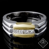 Men's Diamond Wedding Band 0.47 ct Princess cut 14k 2 Tone Gold