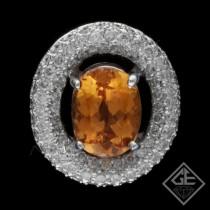 Ladies 4.50 Ct. Imperial Topaz Halo Diamond Pendant 14k White Gold