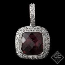 Ladies Halo Diamond Pendant with 7 Ct Cushion Cut Pink Tourmaline 14k White Gold