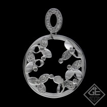 Ladies Circle with Flower Diamond Pendant with 0.35 Ct tw. 14k White Gold