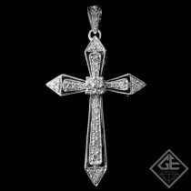 14k White Gold Pave Set Cross Pendant with 0.38ct Round Cut Diamonds