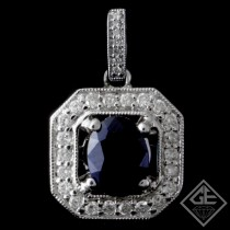 Ladies 1.10ct Oval Cut Blue Sapphire Pendant in 14k White Gold