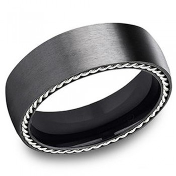 Men's 7.50MM Black Titanium Wedding Band
