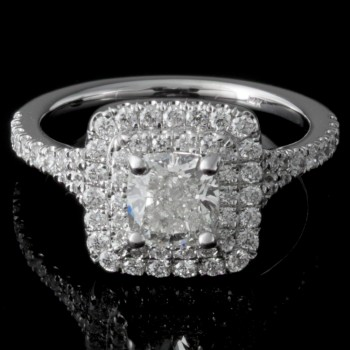 Ladies Custom Double Halo Engagement Ring