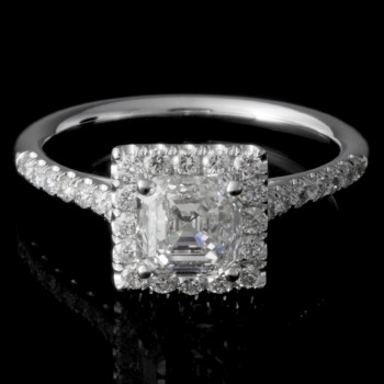 0.24 CTWT Round Cut Diamond Halo Pave Set Engagement Ring in 14k White Gold