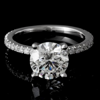 Ladies Custom Pave Set Diamond Engagement Ring