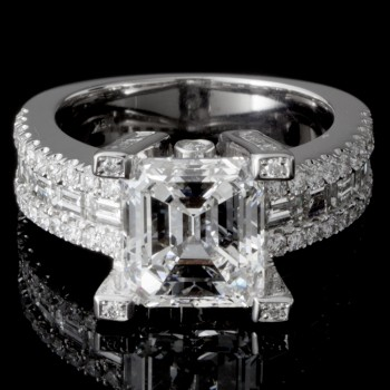 Ladies Custom Asscher Cut Diamond Engagement Ring