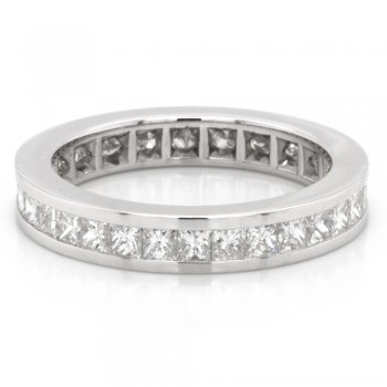 1.64 CTWT Princess Cut Diamond Channel Set Eternity Ring in 14k White Gold