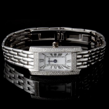 Ladies Geneve Watch with Fold Over Lock in 14k White Gold