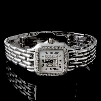 Ladies Quartz Watch with Fold Over Lock in 14k White Gold