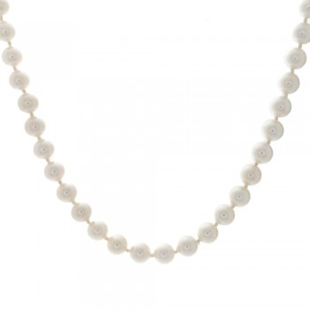 Ladies Akoya Pearl Necklace with 14k Yellow Gold Ribbon Lock