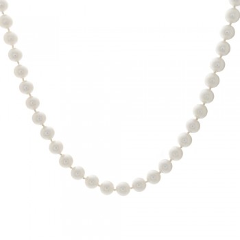 Ladies Japanese Akoya Pearl Necklace with 14k White Gold Filigree Lock