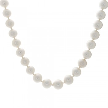 Ladies South Sea Pearl Necklace with 18k White Gold Diamond Ball Lock
