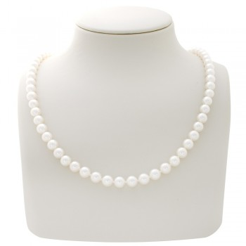 Ladies Japanese Akoya Pearl Necklace with 14k White Gold Lock