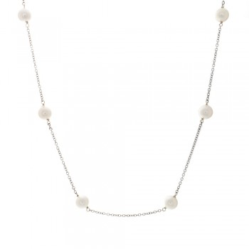 Ladies Akoya Pearl By The Yard Necklace in 14k White Gold