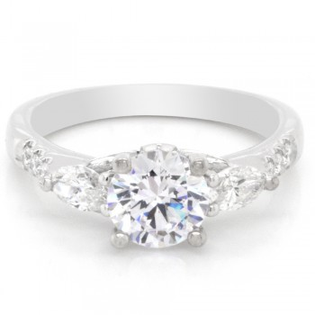 Ladies 0.72 CTWT Marquise and Round Diamond Engagement Ring in 14k White Gold