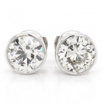 3.94 CTWT Round Cut Diamond Bezel Set Stud Earrings with Guardian Locks in 14k WG