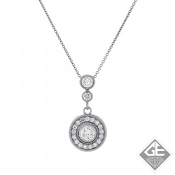 0.79 CTWT Round Cut Diamond Halo Pendant in 14k White Gold