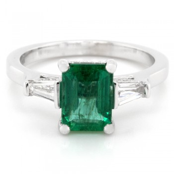 Ladies 1.50 ct. Emerald and 0.43 ct. Round and Baguette Cut Diamonds in 18k White Gold
