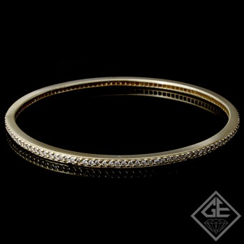 14k Yellow Gold Ladies Diamond Bangle with 2.50 carat of Round Brilliant cut diamonds