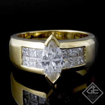 1.83 carat  Marquise & Princess Cut Diamond Ladies Ring  in 18k Yellow Gold