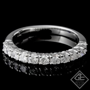 0.57 carat Round Brilliant Cut Diamond Wedding Band in 14k White Gold