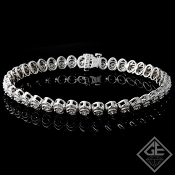 1.37 Ct total Round Brilliant Cut Ladies Diamond Bracelet in 14k White Gold