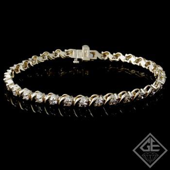 4.62 Ct total Round Brilliant Cut Ladies Diamond Tennis Bracelet in 14k Yellow Gold