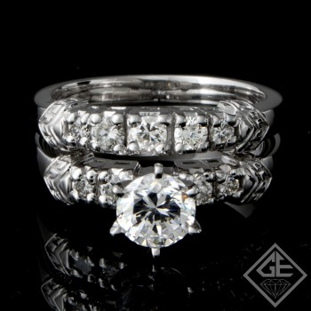 Ladies Diamond Bridal set Ring with 0.63 carat Round brilliant cut side diamonds