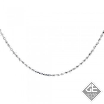 Ladies 14k Gold 2 mm Diamond cut Rope Chain Necklace-18 inches
