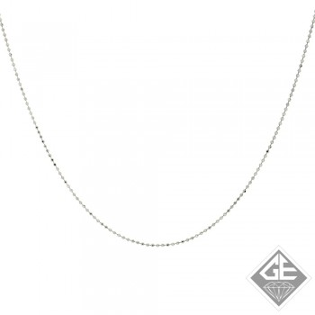14k White Gold 1.00 mm Ball Chain - 16 Inches