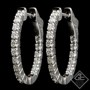 14k White Gold Oval Shape Inside-Outside Round Diamond Hoop Earrings 1.38 Ct tw.