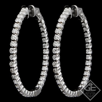 14k White Gold Inside-Outside Round Shape  Diamond Hoop Earrings