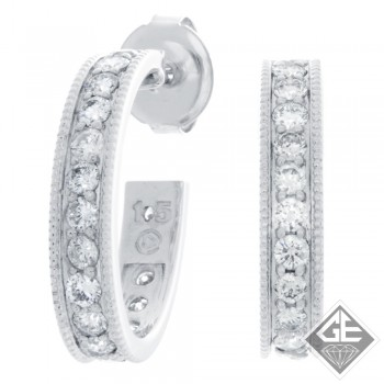 14k White Gold Round Cut Diamond Hoop Earrings 1.45 ct. tw