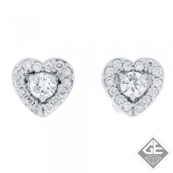 14k White Gold Heart-Shaped Design Halo Stud Earrings