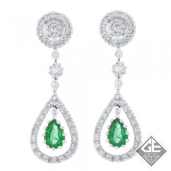 14k White Gold Pear Shape Emerald Teardrop Dangling Earrings