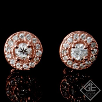 0.67 CTWT Round Cut Diamond Halo Stud Earrings in 14k Rose Gold