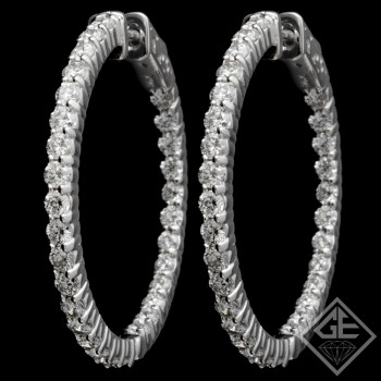 3.07 CTWT Round Cut Diamond Inside-Outside Hoop Earrings in 14k White Gold