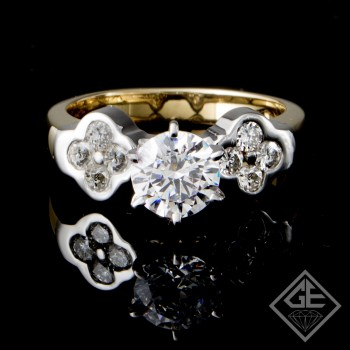 Ladies Round Brilliant Cut Diamond Engagement 14k Gold