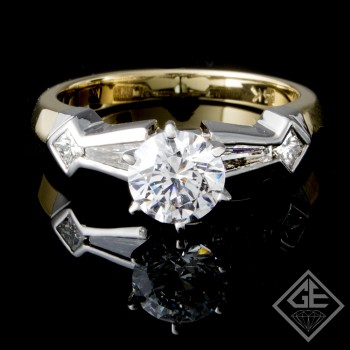 Baguette & Princess Cut Ladies Diamond Engagement Ring in 14k Gold