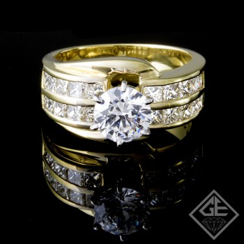 Ladies Princess Cut Diamond Engagement Ring 18k Gold