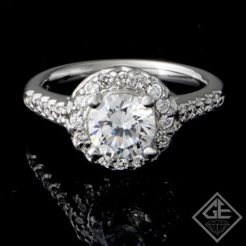 Halo Style Round Brilliant Cut Halo Diamond Engagement Ring 14k Gold