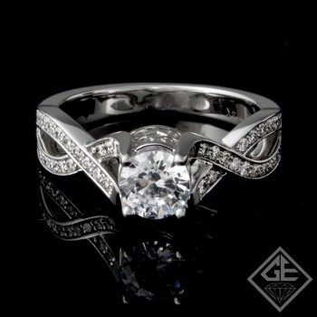 Twisted Band Style Round Brilliant Cut Diamond Engagement Ring 14k Gold