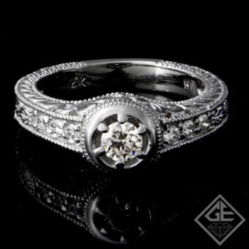 0.46 carat Round Brilliant Cut Diamond Engagement Ring 14k Gold
