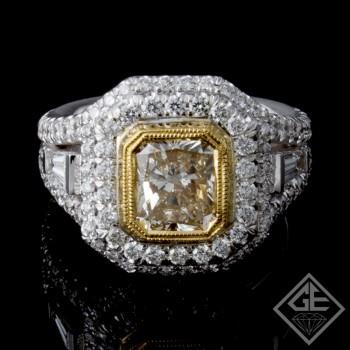 EGL Certified Radiant Cut Halo Diamond Engagement Ring 18k Gold