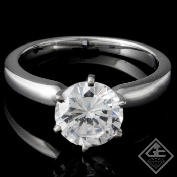 Ladies 6 Prong Diamond Solitaire Ring 14k White Gold