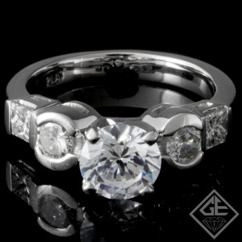 Ladies Round And Princess Cut Diamond Engagement Ring In Platinum