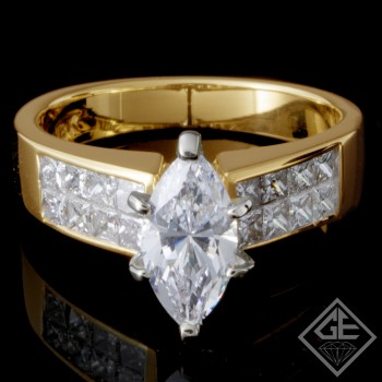 0.72 CT Princess Cut Diamond Invisible Setting Engagement Ring in 18k Yellow Gold