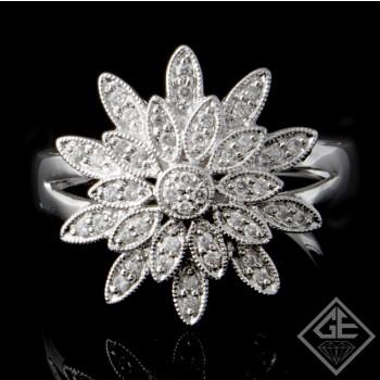 Ladies Elegant Flower Design Fashion Ring with 0.24 ct Round Brilliant Cut Diamonds in 14k White Gold