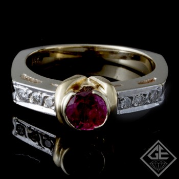 Ladies Antique Style Fashion Ring with 0.53 carat Ruby and 0.10 carat Round Cut Diamonds in 14k 2-tone Gold